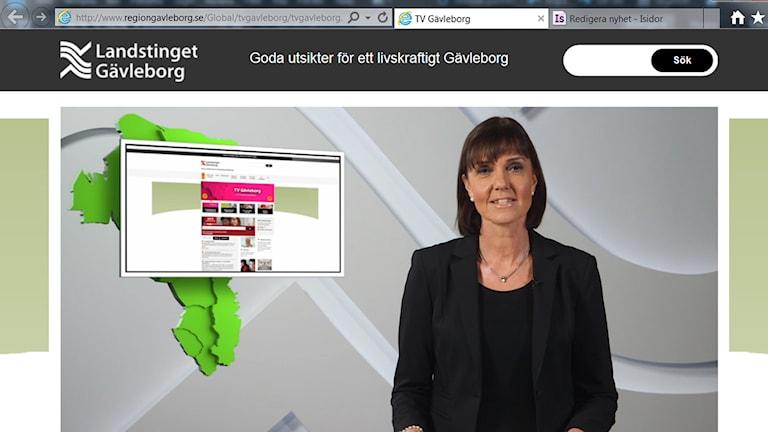 Region Gävleborgs tv-sändningar. Foto: Skärmdump regiongavleborg.se.