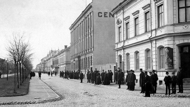 Vy över Nygatan/Stora Esplanadgatan. Grand Central Hotell 1880-tal. Fotograf okänd, Gävle Stadsarkiv.