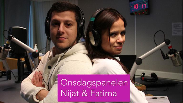 Onsdagspanelen med Nijat och Fatima. Foto: Fredrik Björkman/Sveriges Radio
