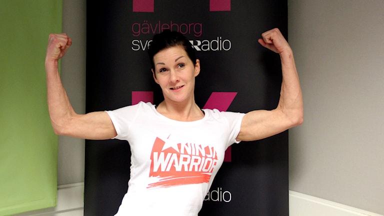 Sanna Larsson från Gävle tävlar om att bli Ninja warrior på Kanal 5. Foto: Martin Svensson / Sveriges Radio