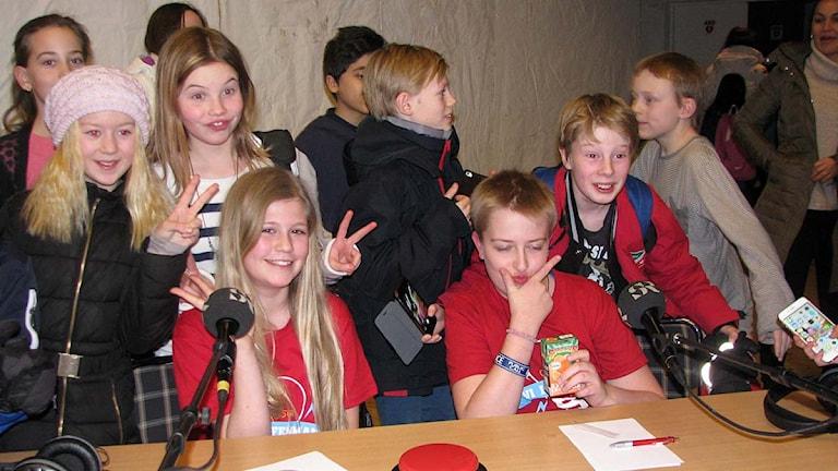 Elsa Petrusson och Are Högberg tävlade för Engelska skolan. Foto: Ingegerd Engvall/Sveriges Radio