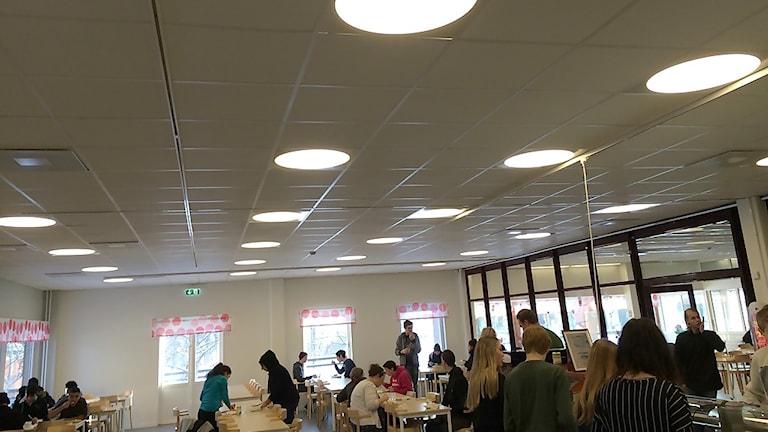 Det bullerabsorberande taket är nyckeln till den goda miljön i matsalen. Foto: Christian Höijer/Sveriges Radio