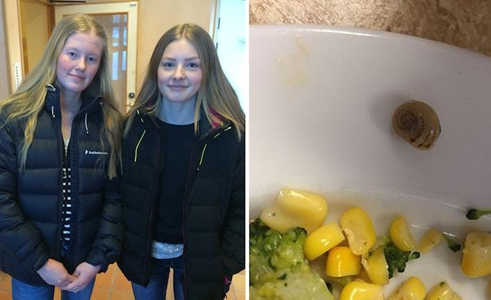 Olivia Jonsson och Ellen Roos hittade en snigel i sin mat på Sofiedalskolan i Valbo. Foto: Linnea Johansson/Sveriges Radio/Privat.