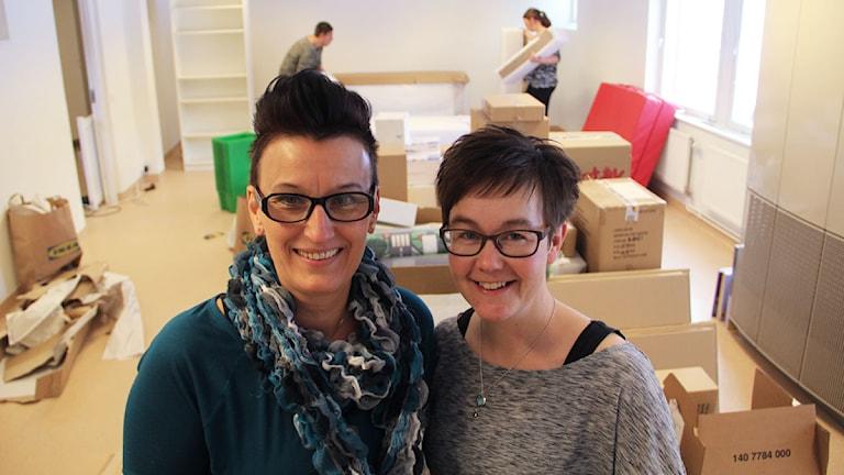 Pia Lindestam och Monica Tuohimaa är två en de som driver Pusselbitens förskola i Söderhamn. Foto: Magnus Hansson/Sveriges Radio