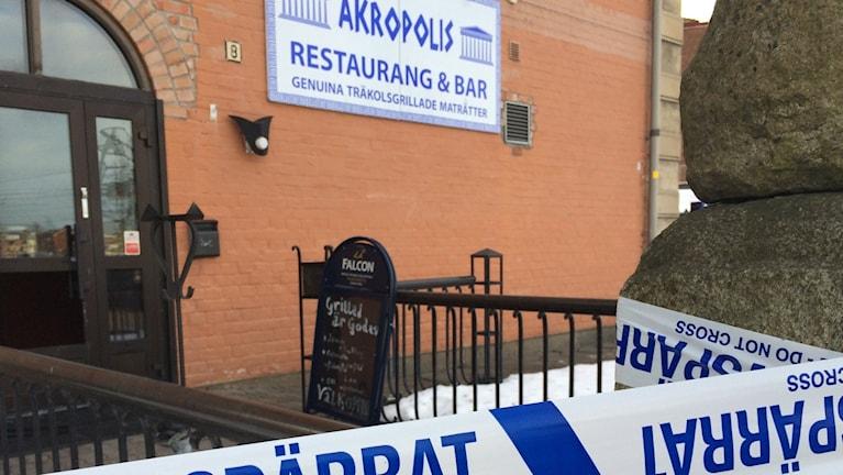 Polisen utreder branden i restaurang Akropolis. Foto: Agneta Sundberg/Sveriges Radio