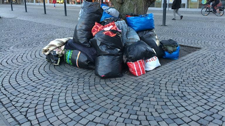 Den rumänska familjen har tidigare sovit på gatan i centrala delar av Gävle. Foto: Joacim Lindwall/Sveriges Radio