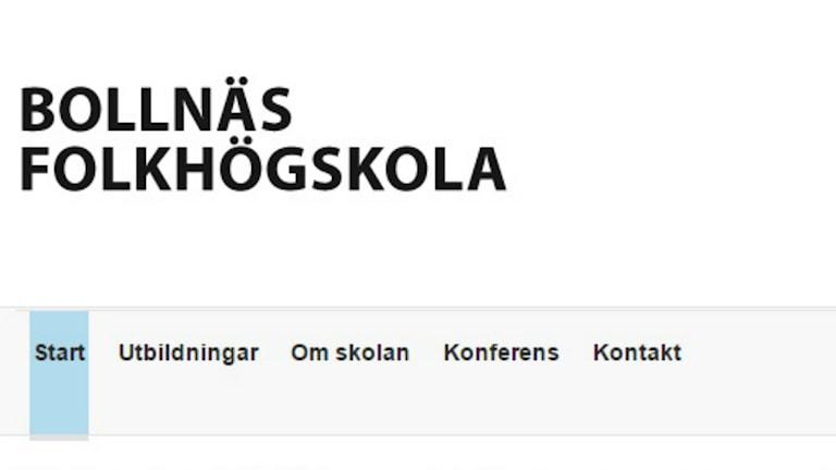 Skärmdump från Bollnäs folkhögskolas hemsida.