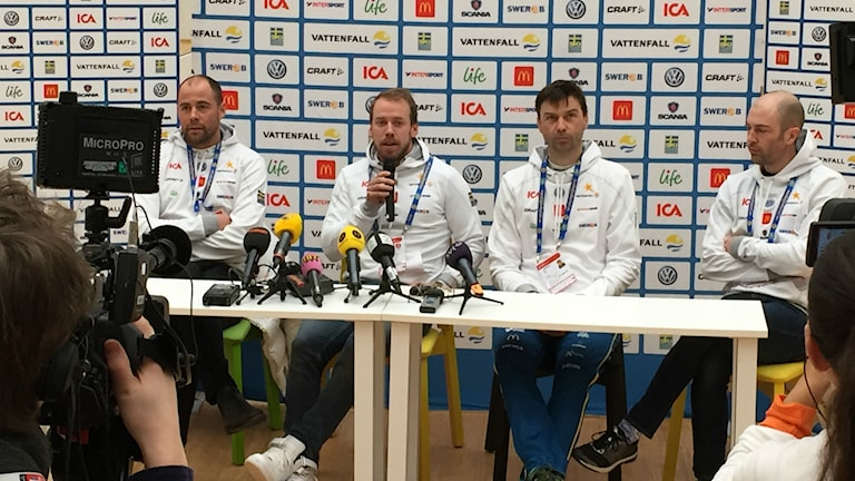 Press conference in Falun Emil Jönsson is out of championships with injury. Photo:  Gabriel Henning/Sveriges Radio.