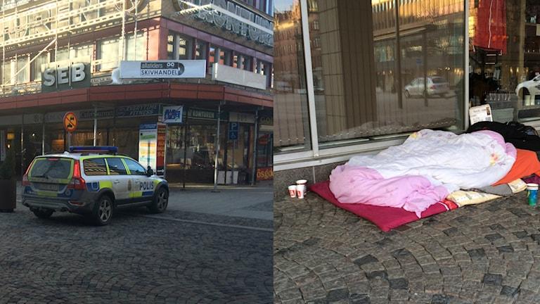 Евромигранты и полиция. Фото: Joacim Lindwall/Sveriges Radio