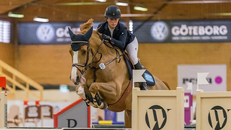 Irma Karlsson tog hem den första svenska segern under Gothenburg Horse Show under fredagen. Foto: Privat.