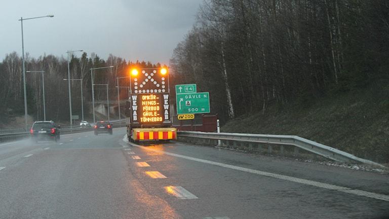 Omkörningsförbud E4. Foto: Roger Nilsson