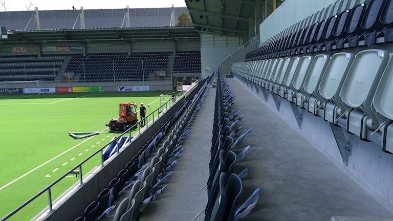 Del av läktare på Gävles nya fotbollsarena, Gavlevallen. Foto: Christian Ploog/ Sveriges Radio