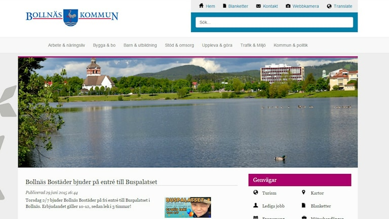 Bollnäs kommuns hemsida innan P4 Gävleborgs granskning. Varken information eller inhämtande av samtycke finns, vilket bryter mot Lag om elektronisk kommunikation.