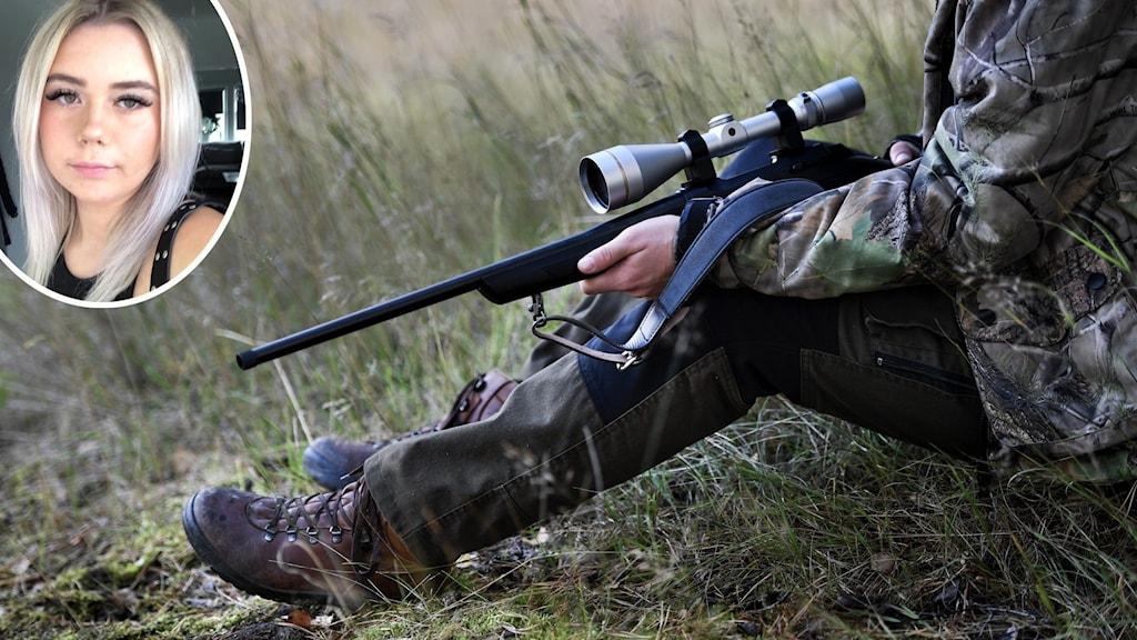 En ung kvinna. An anonym jägare med gevär.