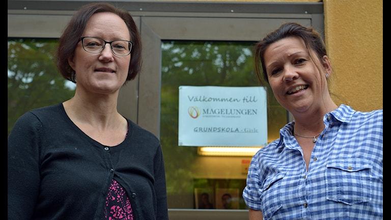Enhetscheferna Helene Östlund och Camilla Rekke (th) ansvarar för Magelungen. Foto: Tomas Groop/ Sveriges Radio