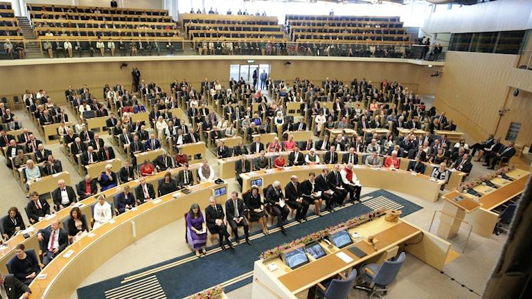I dag öppnade riksdagen igen efter sommaruppehållet. Foto: Sören Andersson/TT
