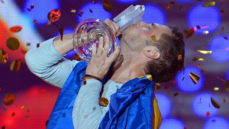 Måns Zelmerlöf vann Melodifestivalen tidigare i våras. Foto: TT.