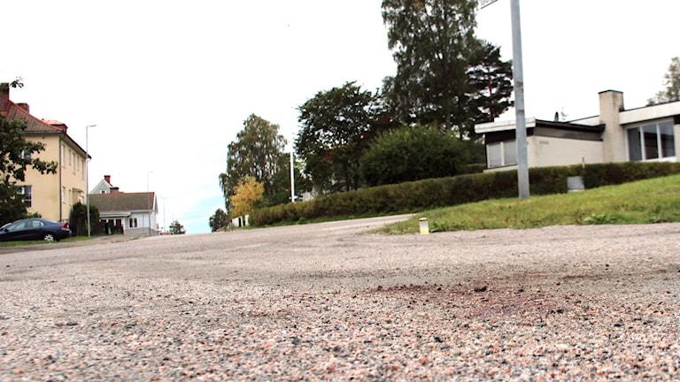 Mordplatsen i Söderhamn. Foto: Christian Höjjer/Sveriges Radio