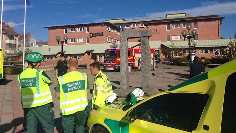 Brandattentat mot Ljusdals kommunhus. Foto: Hasse Persson/Sveriges Radio