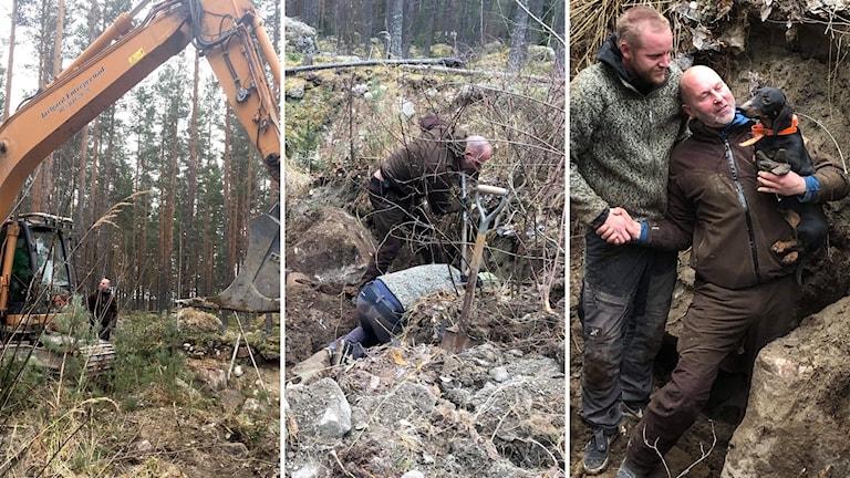 Taxen Gisl satt fast i ett strengryt i över ett dygn innan han kunde räddas med hjälp av Peter Jarlgård i grävskopan och Jon Hagen och husse Pär Frank som grävde för hand.