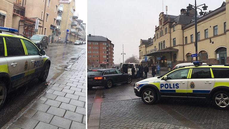 Polisen ökar sin närvaro på vissa offentliga platser i länet. Här utanför Gävletidningarnas hus och vid Gävle centralstation. Foto: Christian Ploog / Sveriges Radio