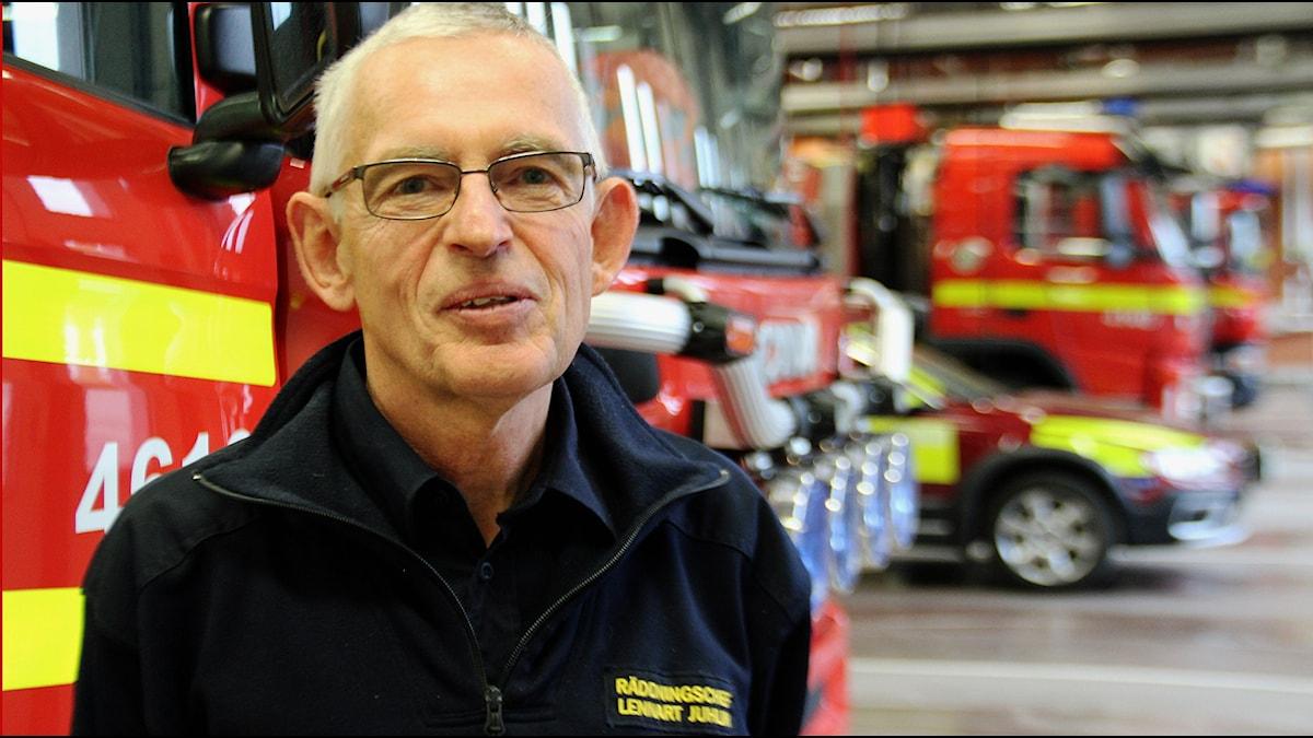 Lennart Juhlin, räddningschef för Norrhälsinge räddningstjänst. Foto: Linnea Johansson/Sveriges Radio.