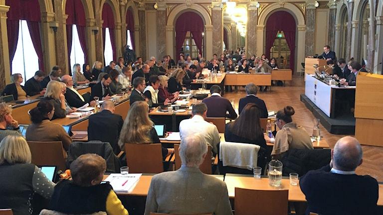 Sal med politiker i Gävle kommunfullmäktige.