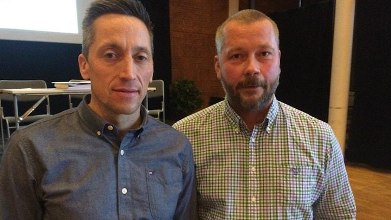 Petri Berg, vd Faxeholmen och Lars Stål, teknisk chef Söderhamns kommun har stora förhoppningar kring enerigeffektiviteringsprojektet. Foto: Agneta Sundberg/Sveriges Radio