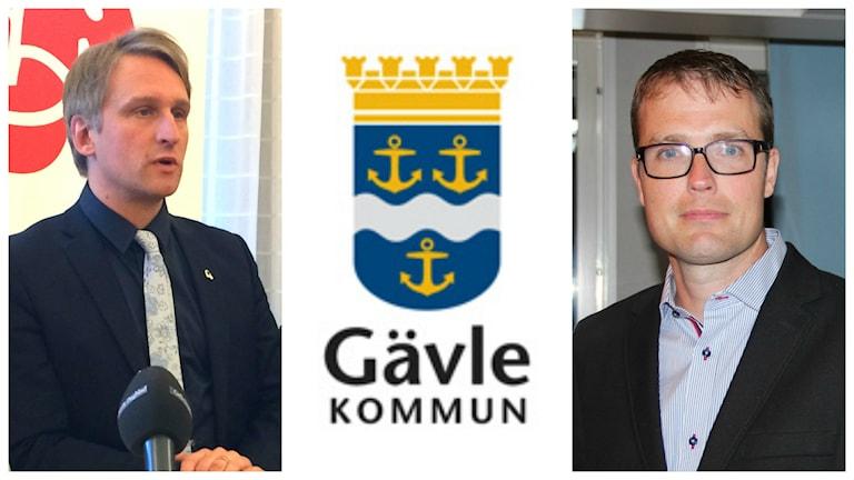 Jörgen Edsvik (S) och Patrik Stenvard (M). Foto: Sveriges Radio/Gävle kommun