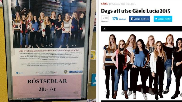 Årets uttagning av Gävles lucia använder fortfarande bild och röstningsnummer. Foto: Fredrik Björkman och faksimil från gd.se.