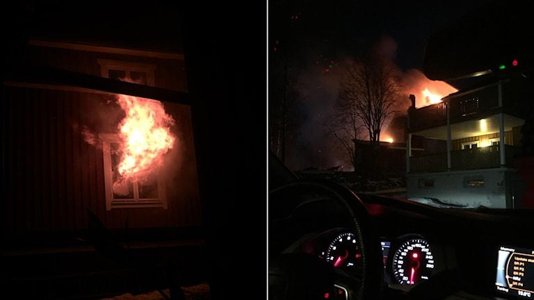 Branden i Hamre utanför Hudiksvall inträffade i januari 2015. Foto: Privat.