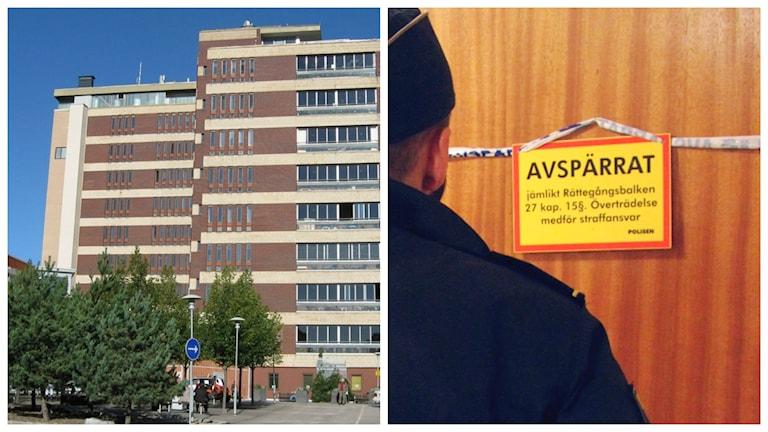 Häktningsförhandlingarna mot den misstänkte sonen hålls på Gävle sjukhus. Foto: Sveriges Radio/Roger Nilsson
