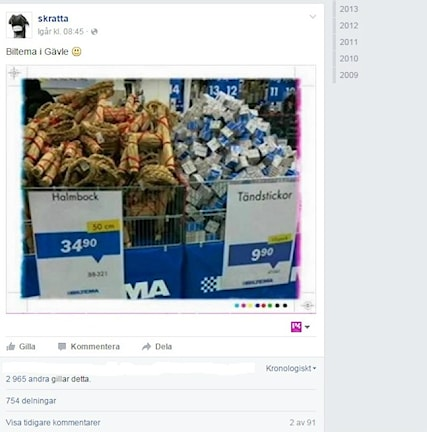Bild på Biltemas skyltning av halmbockar och tändstickor. Foto: faksimil Facebook