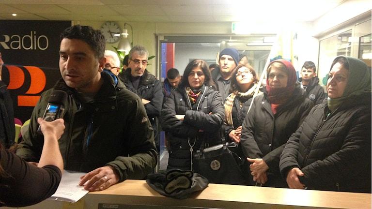 Kurder genomförde en aktion för att uppmärksamma medierna på situationen i Turkiet. Foto: Wenda Hajo/ Sveriges Radio