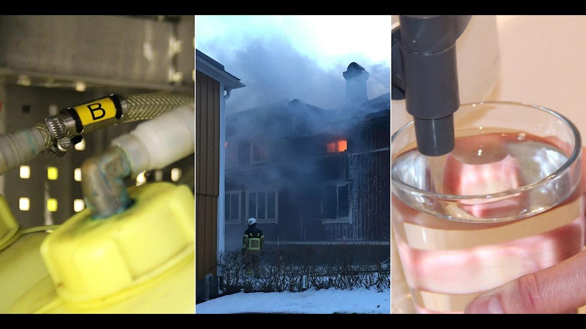Under branden i Hamre förorenades brunnar av PFAS-ämnen i brandskummet. Foto: Linnea Johansson/Sveriges Radio/Privat.