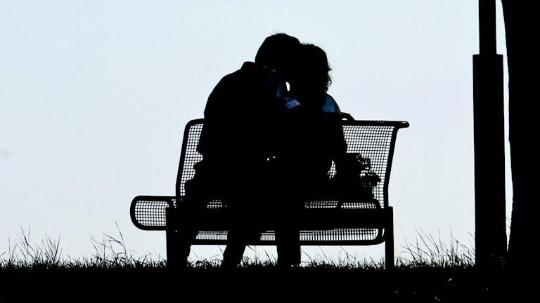 Kärlekspar på en parkbänk. Foto: TT