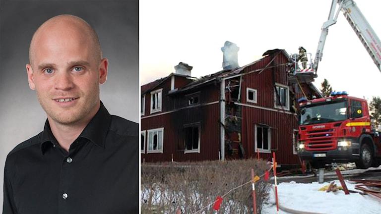 Johan Strandberg, senior projektledare på IVL, och villan som brann i byn Hamre utanför Hudiksvall. Foto: Privat.