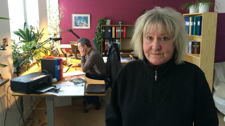 Susanne Palmgren är en av två anställda vid Nedre Norrlands Fackförening. Foto: Hasse Persson/Sveriges Radio