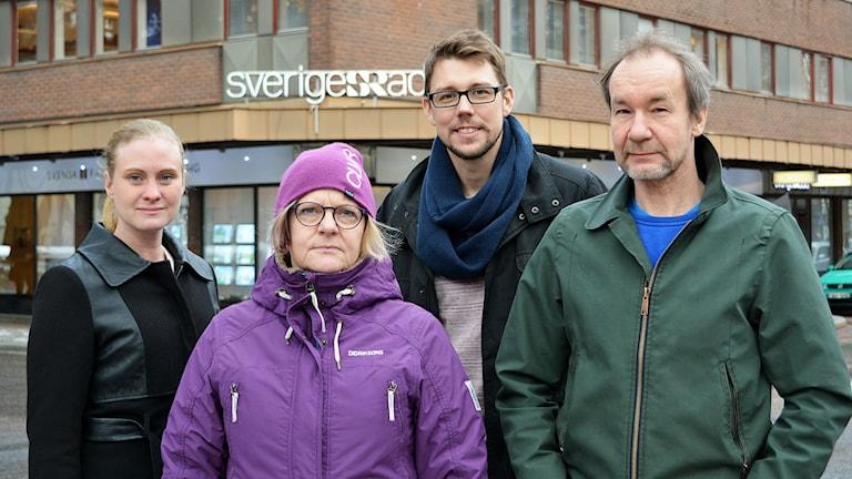 Linnea Johansson, Agneta Sundberg, Christian Höijer och Tomas Groop tar gärna emot nyhetstips. Foto: Jenny Sanner Roosqvist/Sveriges Radio.