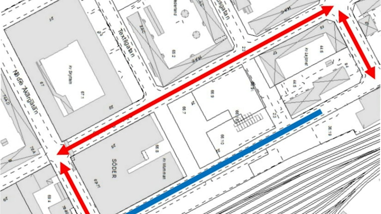 Så är Muréngatan avstängd. Foto: Gävle kommun
