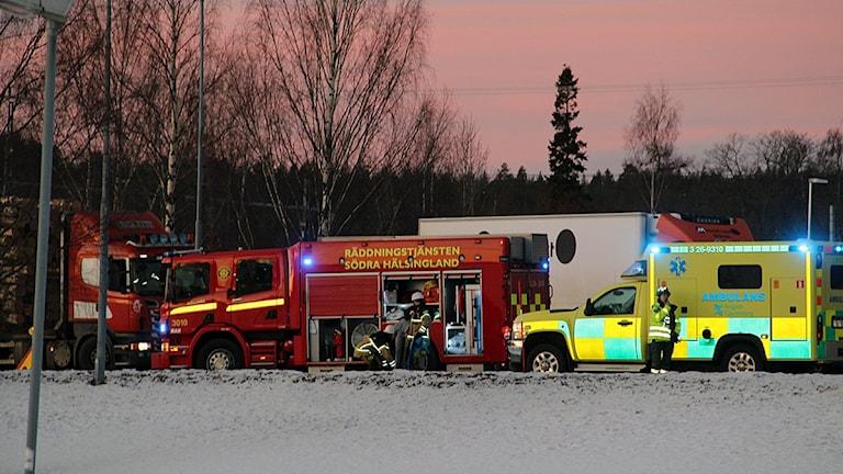 Olyckan skedde vid åttatiden på Sjukhusvägen i Bollnäs. Foto: Oliver Bergman/Sveriges Radio