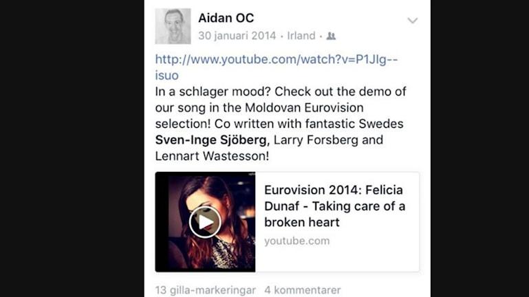 Facebookinlägget som Sjöberg taggats i och gillat.