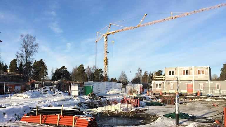 På Almvägen i Gävle byggs det 66 nya hyreslägenheter. Foto: Anna Molin/Sveriges Radio