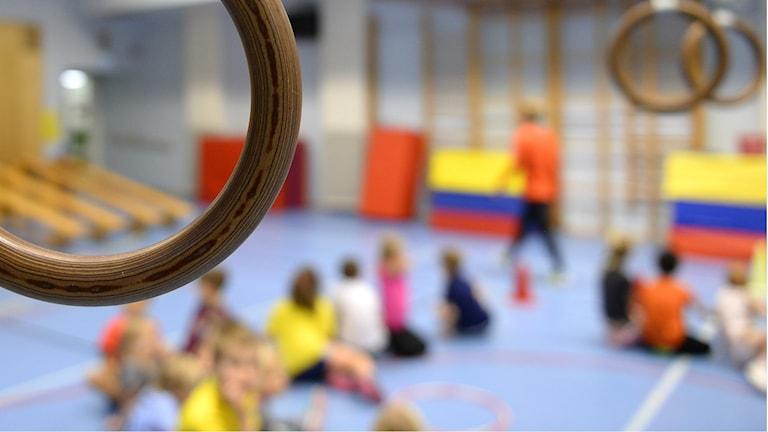 Barn som sitter i en gymnastiksal med ringar i förgrunden.
