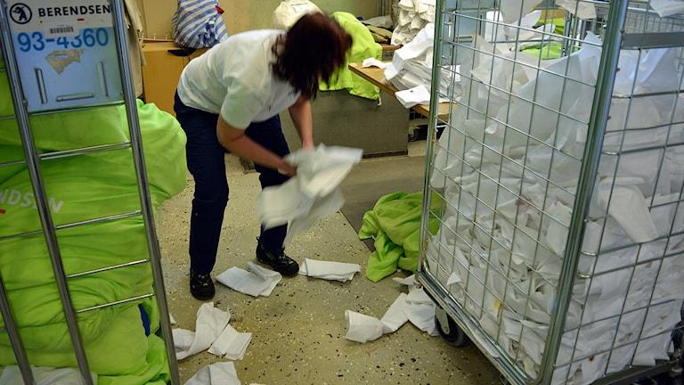 Lena Helins jobb är att räkna smutsiga tygservetter.