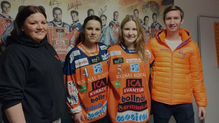 Hanna Östh, Lina Hammarlund, Anna Andersson och Hampus Blomkvist i Bollnäs Flames.