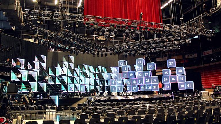 Scenbygge i Gavlerinken Arena.