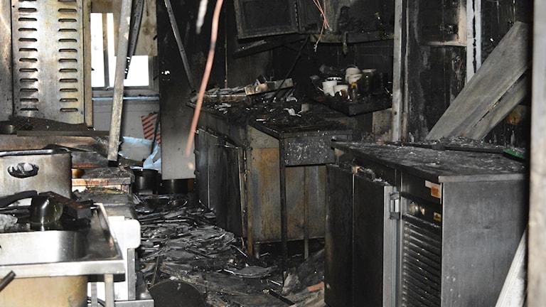 Köksdelen blev totalförstörd i branden.