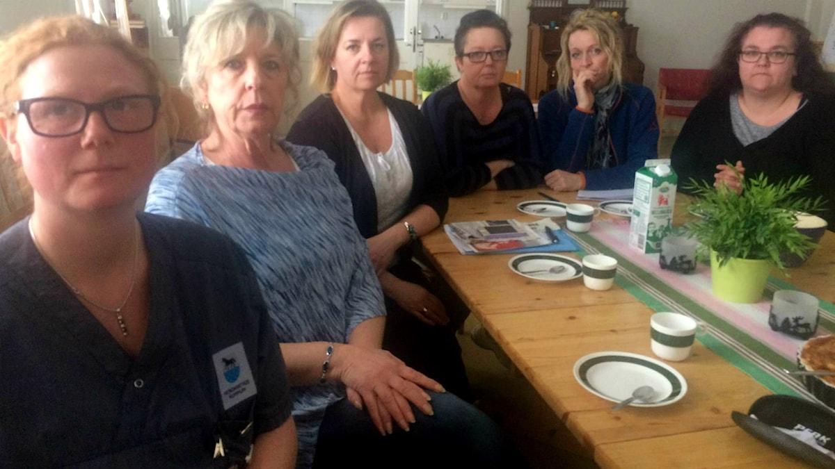 Annelie Norell, Gunmarie Stridh, Anette Forslin, Lotta Lindgren, Veronica Andersson och Sofia Hellgren, arbetsplatsombud inom hemtjänsten i Nordanstigs kommun.