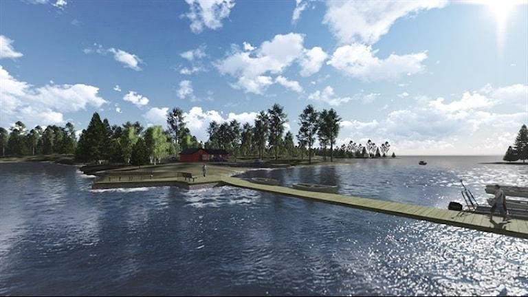 Så här ska det nya området se ut när det är klart. Foto: Skiss Esköhamn